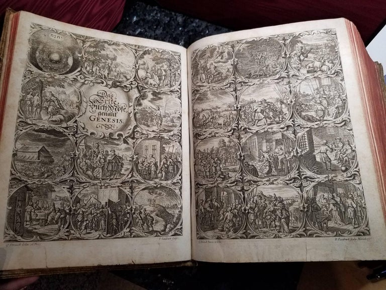1662 Mainz Bible. Complete. German. Catholic. Antique Engravings Woodcuts Vellum