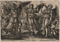 Angels - Framed Set of 2 Engravings - Old Master Engraving after Maerten de Vos