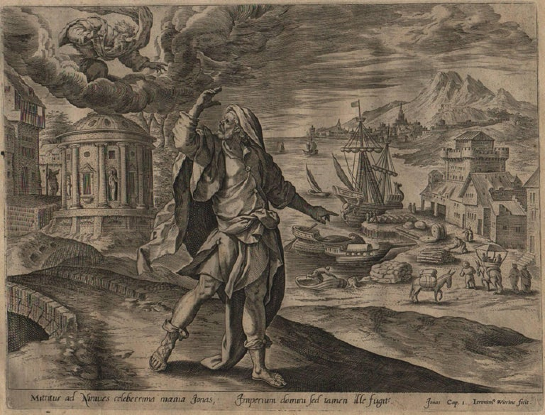 The Story of Jonah - 1585 Complete Set of 4 Plates - Old Master Engraving - Print by Hieronymus Wierix