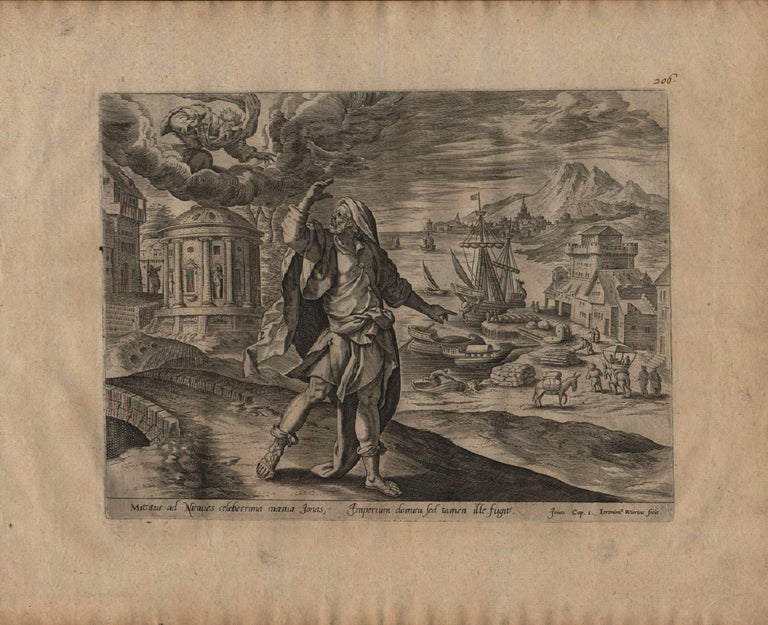 The Story of Jonah - 1585 Complete Set of 4 Plates - Old Master Engraving - Northern Renaissance Print by Hieronymus Wierix