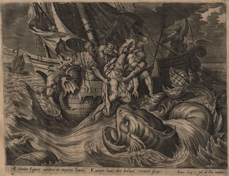 The Story of Jonah - 1585 Complete Set of 4 Plates - Old Master Engraving - Gray Figurative Print by Hieronymus Wierix