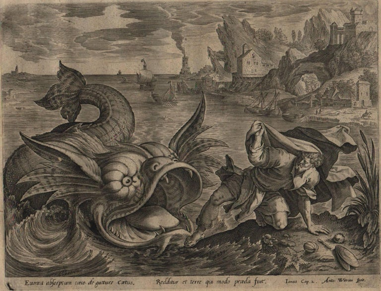 The Story of Jonah - 1585 Complete Set of 4 Plates - Old Master Engraving For Sale 2