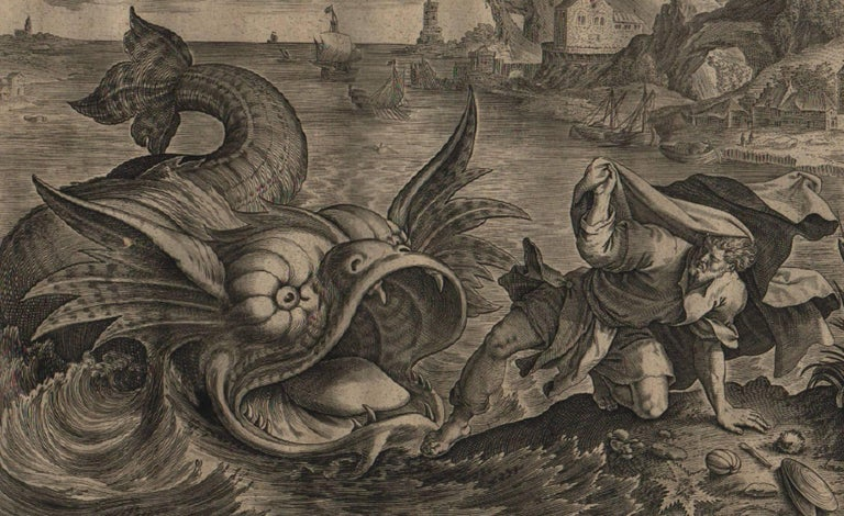 The Story of Jonah - 1585 Complete Set of 4 Plates - Old Master Engraving For Sale 3