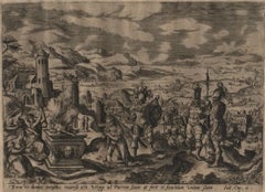 The Story of Jephthah - 1585 Set of 4 Plates - Old Master Engraving Landscape