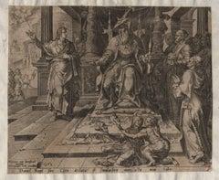 Daniel and Bel - Framed Set of 8 Plates - 1565 Old Master Engraving Religious
