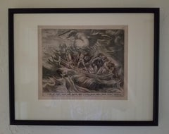Miracle of Christ on the Sea - Framed Old Master 1574 / 1585 Engraving Religious