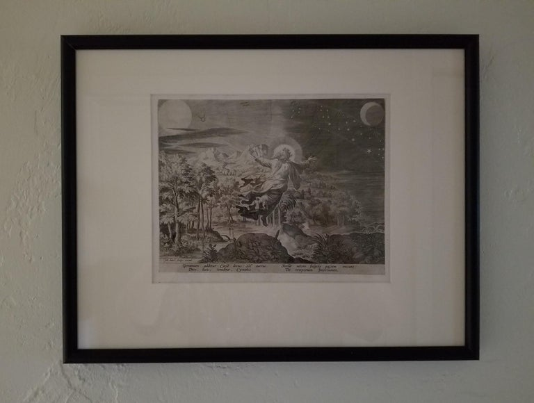 Creation! Sun, Moon, Stars - Framed 1584 Old Master Engraving Religious Bible