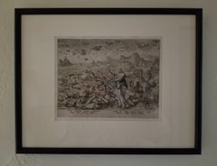 Creation! Birds and Fishes - Framed 1584 Old Master Engraving Religious Bible