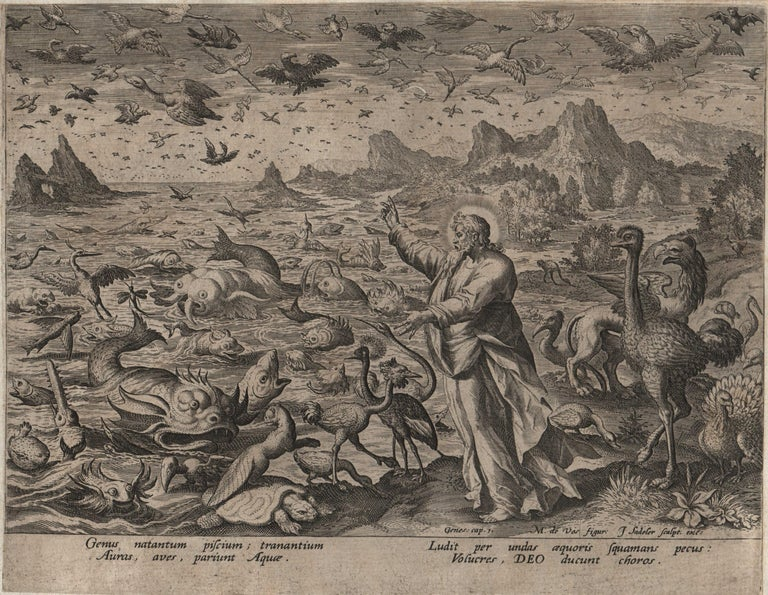 Creation! Birds and Fishes - Framed 1584 Old Master Engraving Religious Bible - Print by Johannes Sadeler I