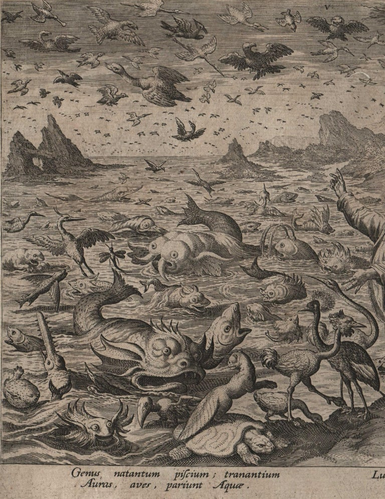 Creation! Birds and Fishes - Framed 1584 Old Master Engraving Religious Bible - Northern Renaissance Print by Johannes Sadeler I