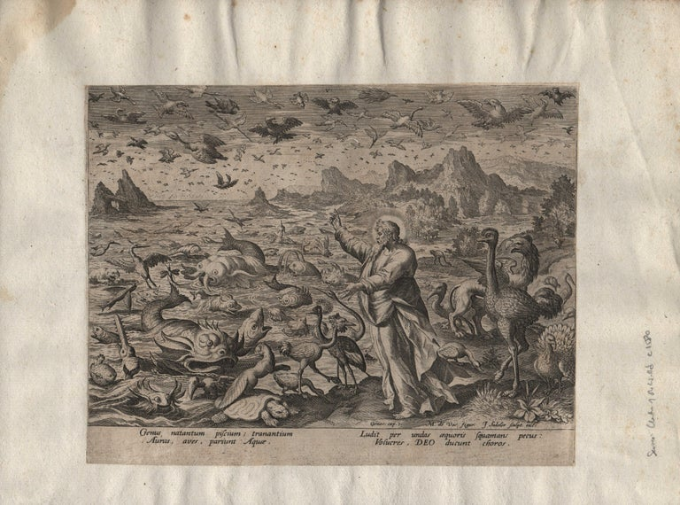 Creation! Birds and Fishes - Framed 1584 Old Master Engraving Religious Bible For Sale 1