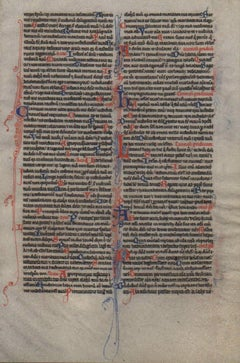 Prayer - Psalms - 1245 Latin Medieval Bible Manuscript Leaf - pen ink religious