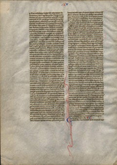 Beatitudes - 1230 Latin Medieval Bible Manuscript Leaf - pen ink religious