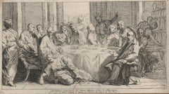 Christ at Supper with the Pharisee - 1725 Old Master Etching Engraving Religious