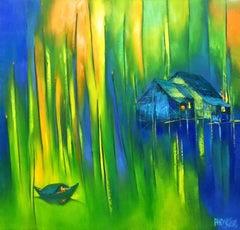 """""""Moonlight Sonata"""" 21st century Asian oil painting landscape green blue UNIQUE"""