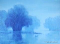 """Blue Sunlight"" 21st century Asian landscape oil painting misty blue"