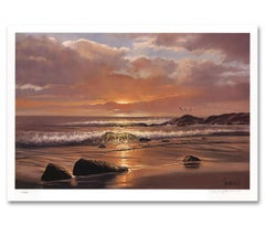 """Sunset Serene"" Limited Edition Hand-Signed Seascape by Violet Parkhurst"