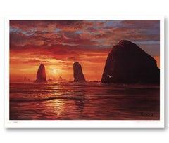"""""""Sunset Splendor"""" Limited Edition Hand-Signed Seascape by Violet Parkhurst"""