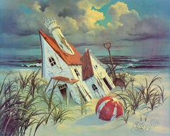 """The Doll House"" Limited Edition Hand-Signed Surrealist Seascape by John Pitre"