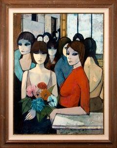 """Femmes au Café"" Large 4-Foot Framed Original Oil Painting by Charles Levier"