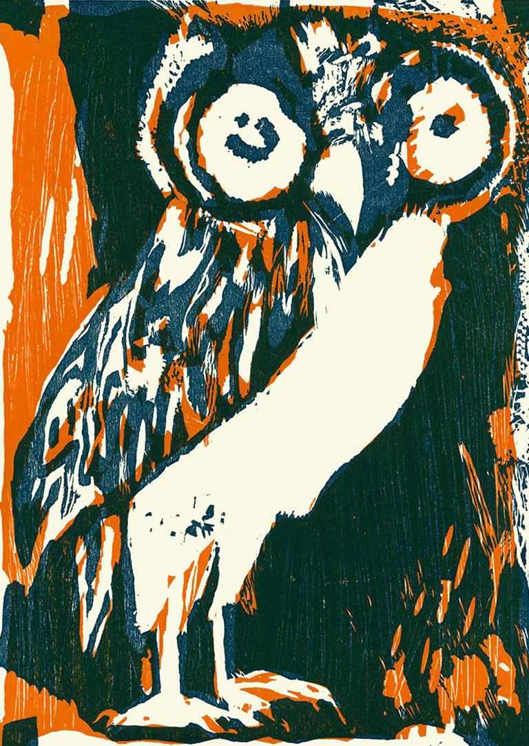 """Le Hibou"" (The Owl), a Limited Edition and Hand-Signed Woodblock by Bernard Lorjou, is an exquisite example of his masterful work. This whimsical, abstract, realist, expressionist portrait of an owl would make a great addition to any art collection"