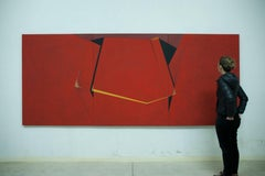 Large abstract red and yellow painting on canvas by award winning Spanish artist