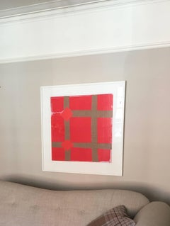 Red screenprint with collage by Sandra Blow, inspired by Burri and Art Povera