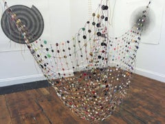 PS #16: Hanging, multicolor textile sculpture by multimedia British artist