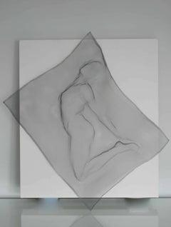 Metal mesh life sculpture, sewn onto white canvas