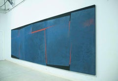 Very Large Blue, Black and Red Abstract Painting by Award Winning Spanish Artist