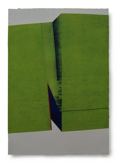 Folded Green: Large Painting on Paper from Award Winning Spanish Artist