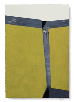 Yellow Surface Divided: Large Painting on Paper, Award Winning Spanish Artist