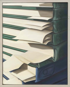 Chelsea Arts Club: a Photorealistic painting of sketchbooks