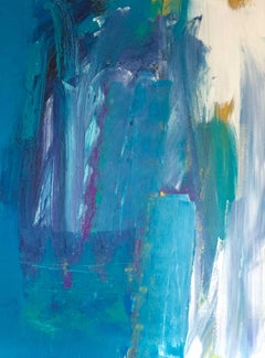 Kew Series I: Large, Abstract, Gestural Painting in Blues and Yellow