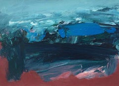 Gara Rock: Small, Abstract, Gestural Painting in Red/Blue by Deborah Lanyon