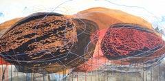 Sibling Rocks 1: Painting of Rocks in the Landscape by Sara Dudman RWA