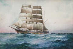 A Passing Sailing Barque in the Open Ocean