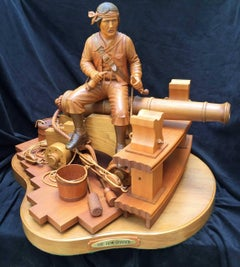 """The Bow Chaser"" - 19th Century Sailor Seated on Cannon Loading his Flintlock"