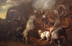 A Gathering of Dogs in a Landscape