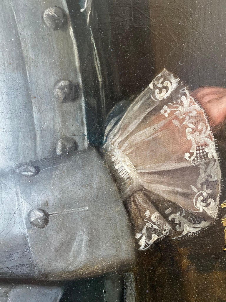 English 18th Century Portrait of Giles Moore - Black Portrait Painting by Christopher Steele