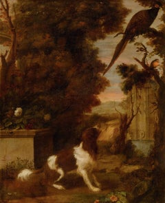 Spaniel and Birds in a Park Landscape, Dutch, 17th century