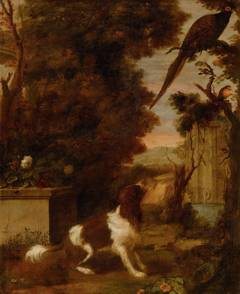 Spaniel and Birds in a Park Landscape