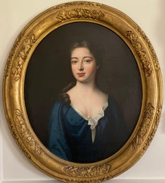 Early 18th century portrait of a Lady in a blue gown, dated 1710.