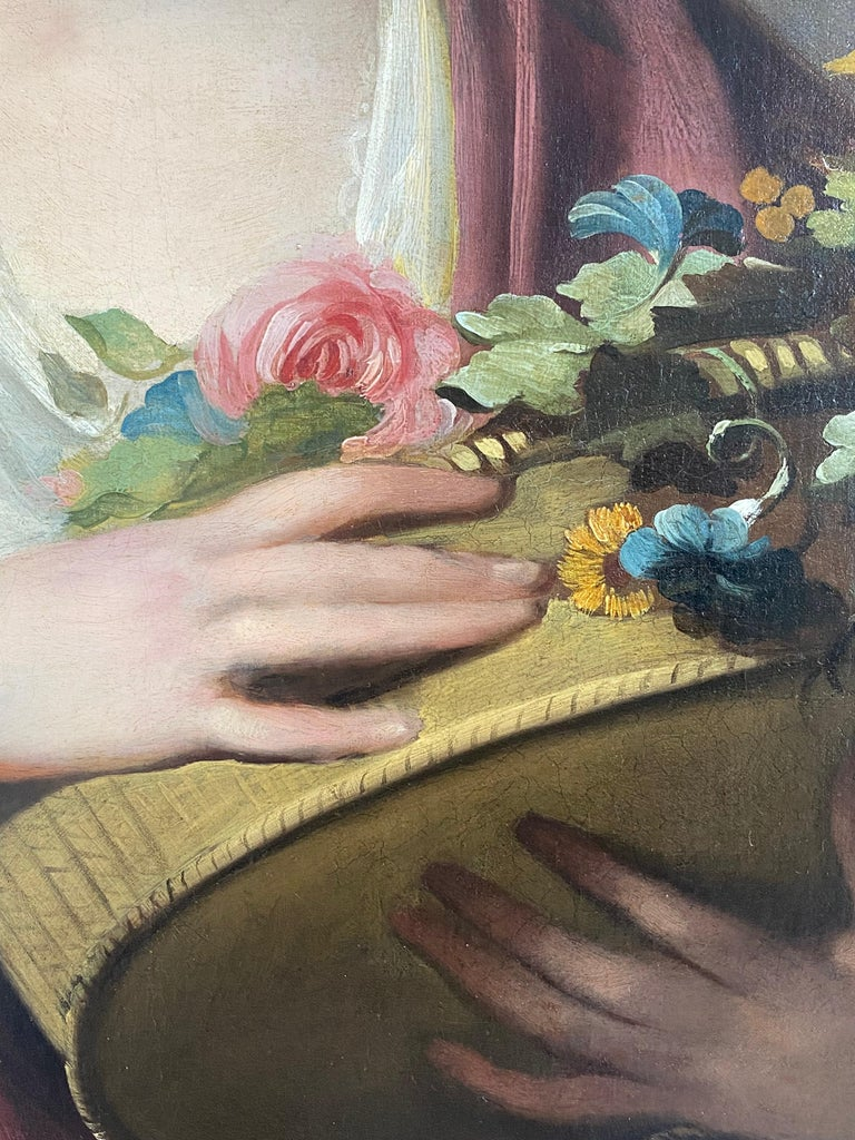 18th century English portrait of a lady beside an urn, with a basket of flowers - Black Portrait Painting by Tilly Kettle
