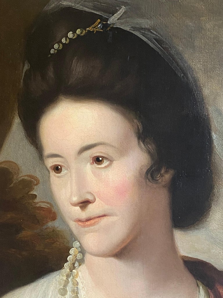 18th century English portrait of a lady beside an urn, with a basket of flowers For Sale 2
