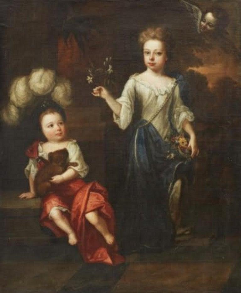 Robert Byng (1666-1720) Portrait of Two Children - Painting by Robert Byng
