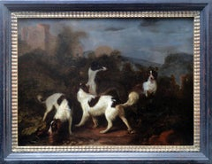 Pair of hunting scenes with dogs