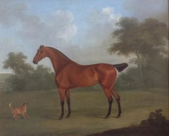 A Chestnut Hunter and Terrier in a Landscape