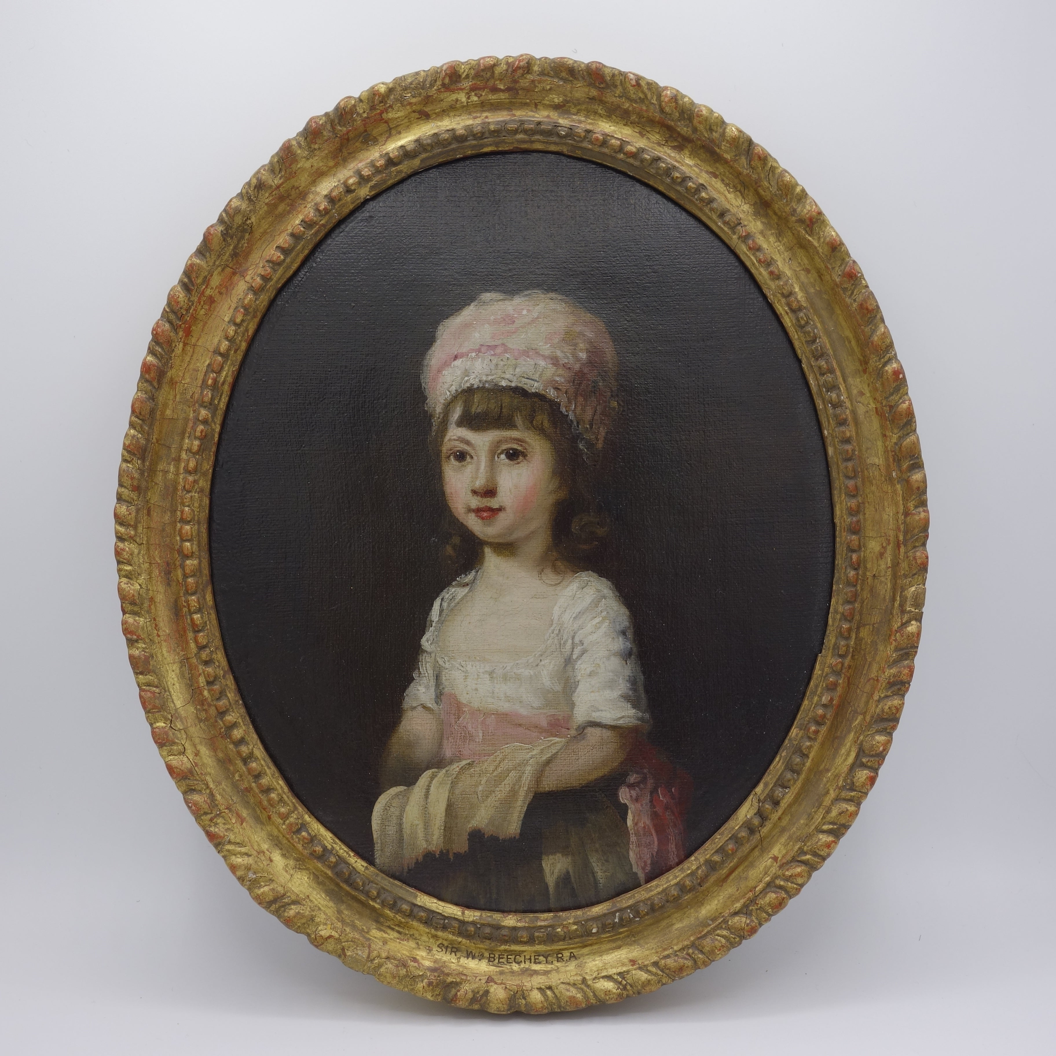 18th century Portrait of  a Young Girl wearing a Pink Bonnet