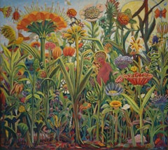 "Thomas Wood, ""Family Garden,"" oil on canvas, 40"" x 48"""